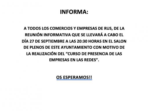 REUNIÓN INFORMATIVA PARA COMERCIOS Y EMPRESAS